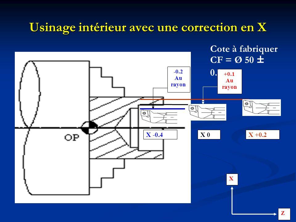 Usinage intérieur avec une correction en X