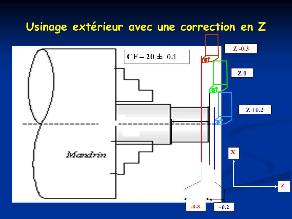 Usinage extérieur avec une correction en Z