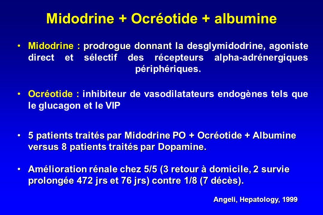 Midodrine + Ocréotide + albumine