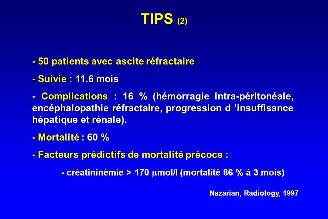 TIPS (2) - 50 patients avec ascite réfractaire - Suivie : 11.6 mois