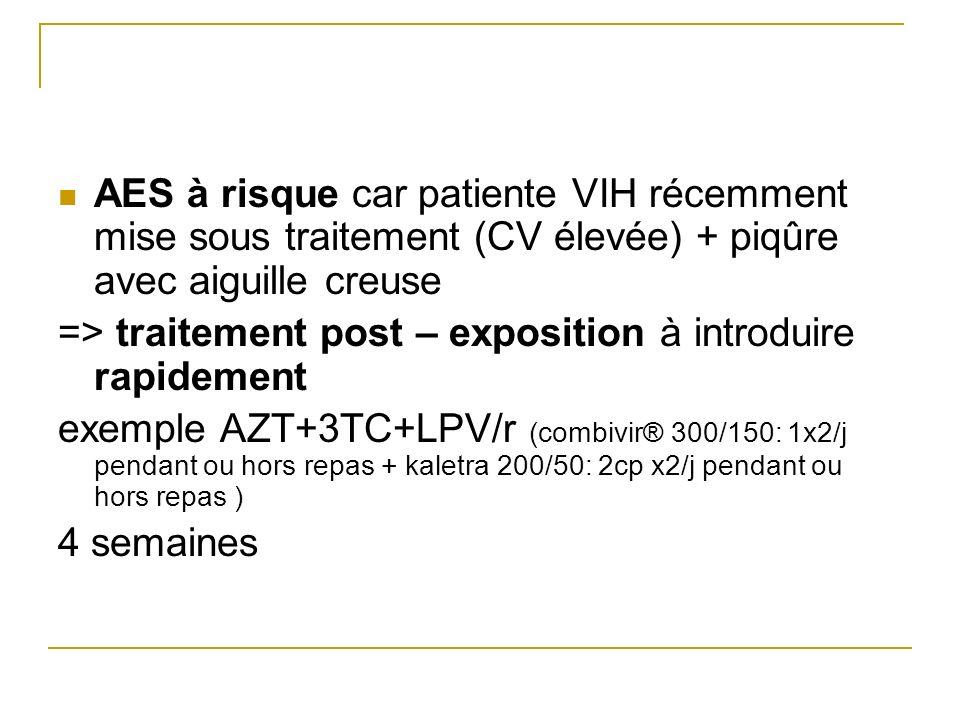 AES à risque car patiente VIH récemment mise sous traitement (CV élevée) + piqûre avec aiguille creuse