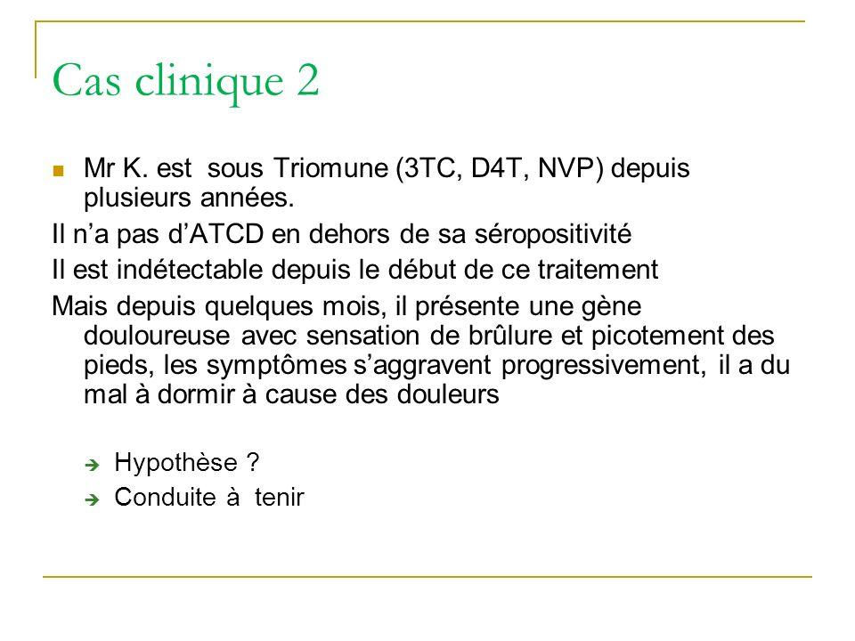 Cas clinique 2Mr K. est sous Triomune (3TC, D4T, NVP) depuis plusieurs années. Il n'a pas d'ATCD en dehors de sa séropositivité.