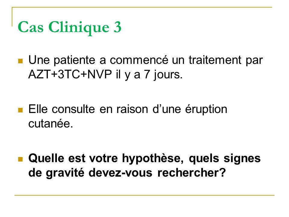 Cas Clinique 3 Une patiente a commencé un traitement par AZT+3TC+NVP il y a 7 jours. Elle consulte en raison d'une éruption cutanée.