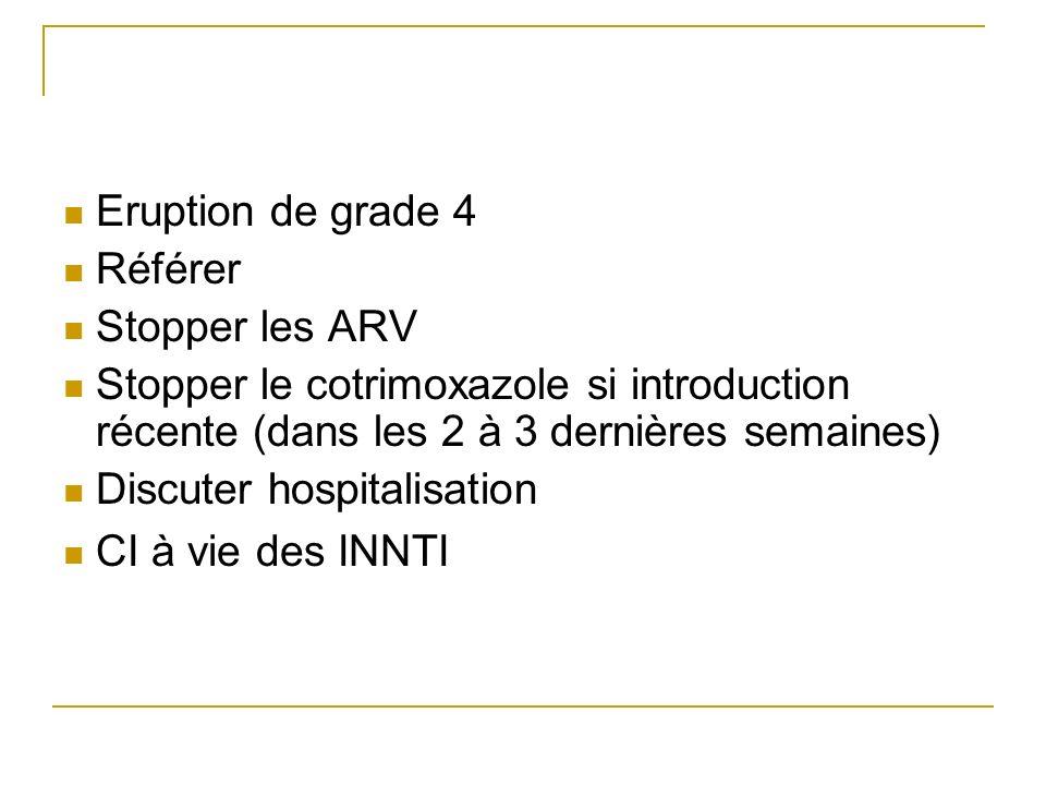 Eruption de grade 4Référer. Stopper les ARV. Stopper le cotrimoxazole si introduction récente (dans les 2 à 3 dernières semaines)