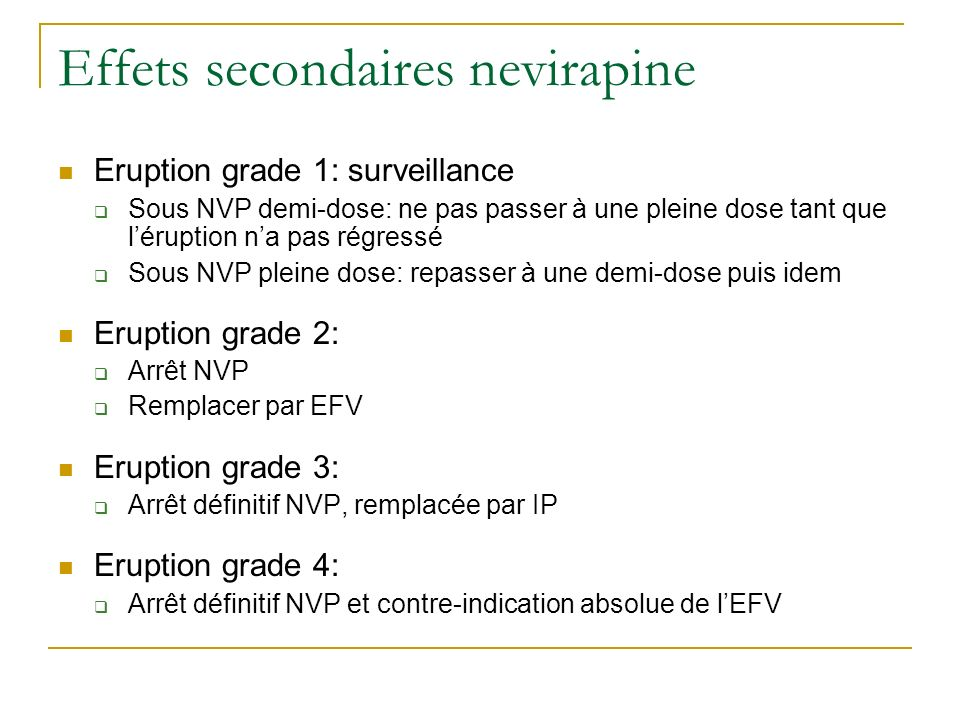 Effets secondaires nevirapine