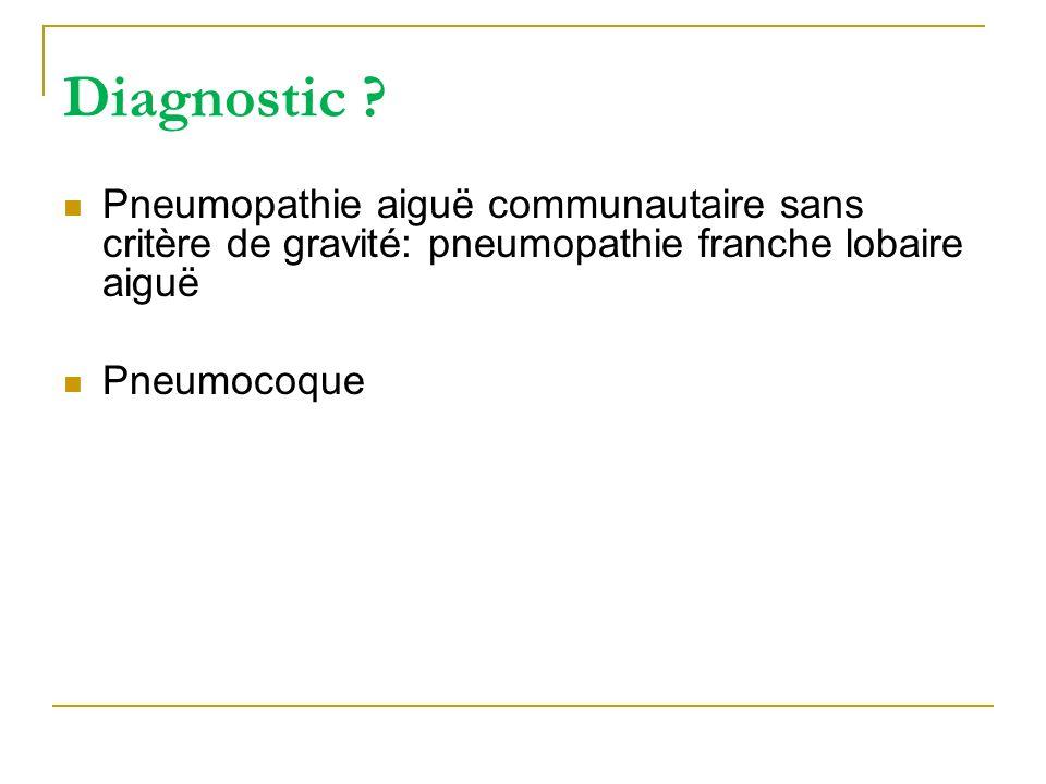 Diagnostic Pneumopathie aiguë communautaire sans critère de gravité: pneumopathie franche lobaire aiguë.