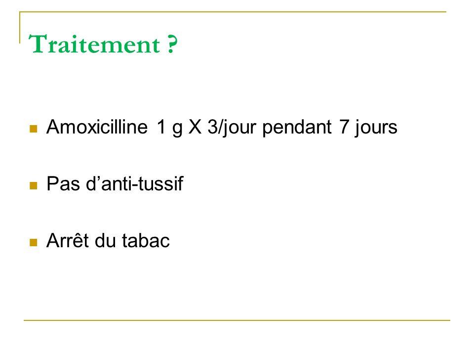 Traitement Amoxicilline 1 g X 3/jour pendant 7 jours