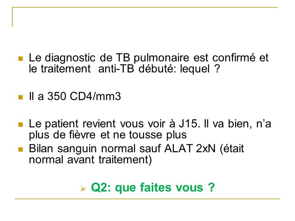 Le diagnostic de TB pulmonaire est confirmé et le traitement anti-TB débuté: lequel