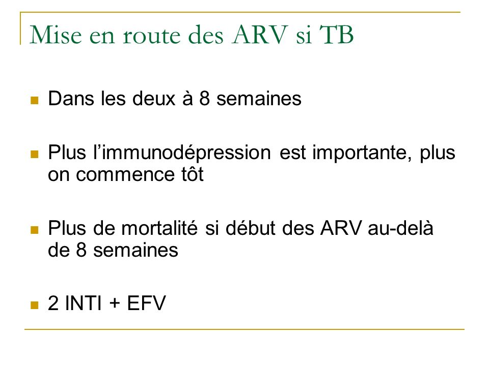 Mise en route des ARV si TB