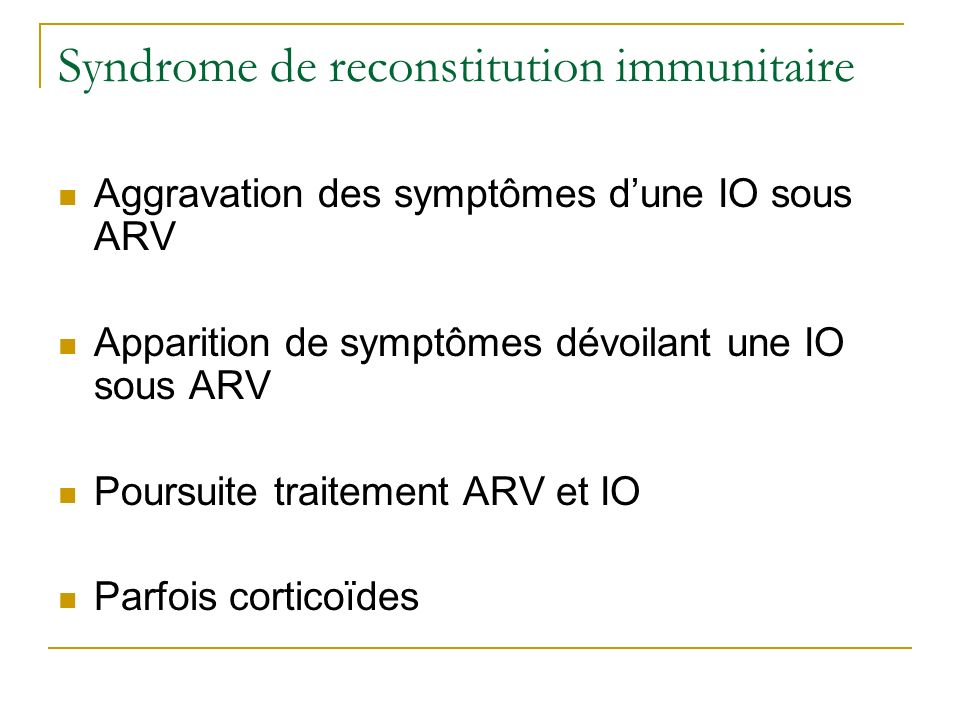 Syndrome de reconstitution immunitaire
