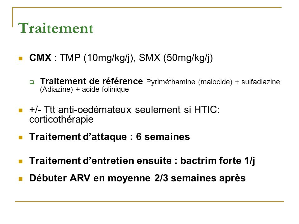 Traitement CMX : TMP (10mg/kg/j), SMX (50mg/kg/j)