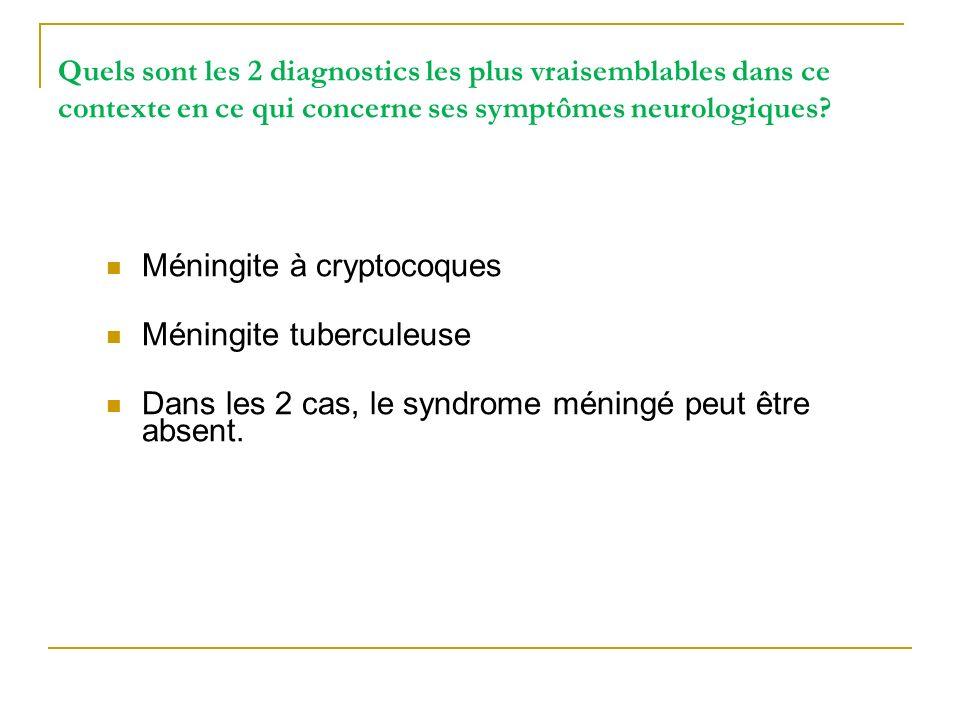 Méningite à cryptocoques Méningite tuberculeuse