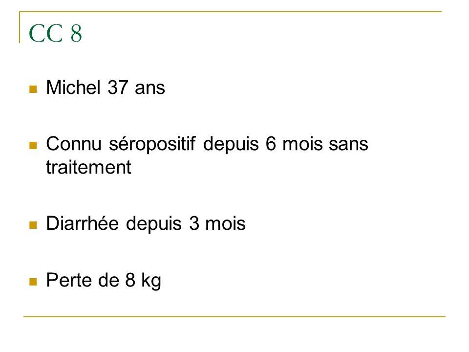 CC 8 Michel 37 ans Connu séropositif depuis 6 mois sans traitement