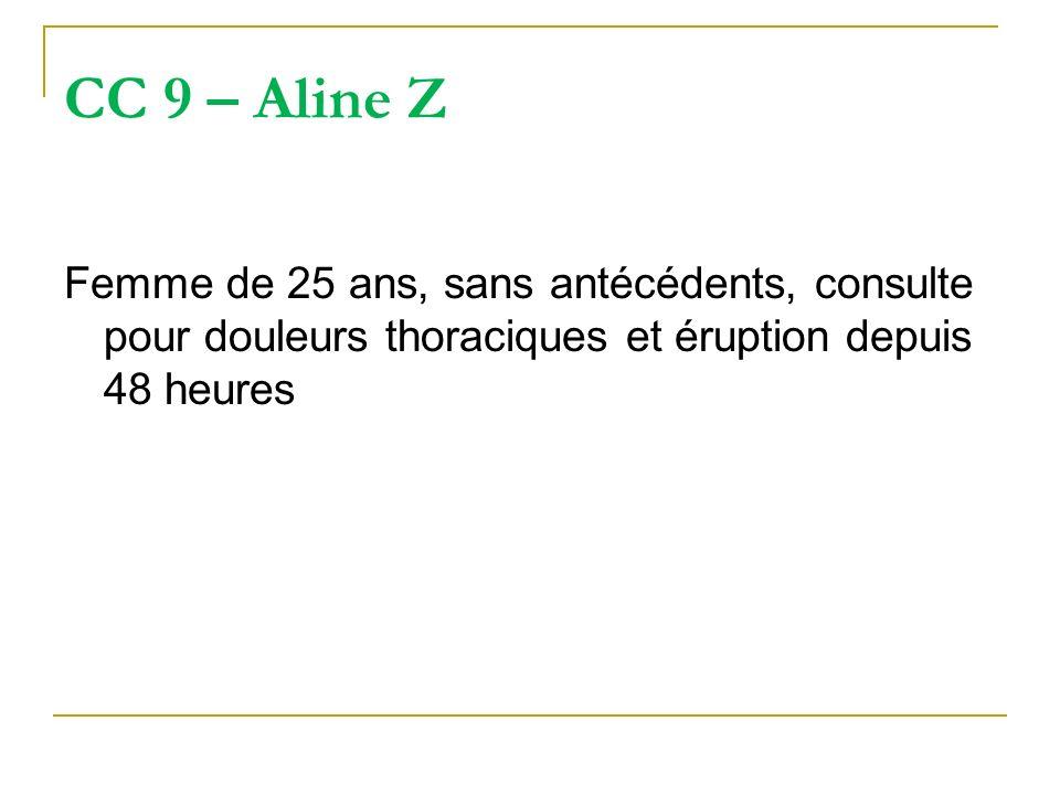 CC 9 – Aline Z Femme de 25 ans, sans antécédents, consulte pour douleurs thoraciques et éruption depuis 48 heures.