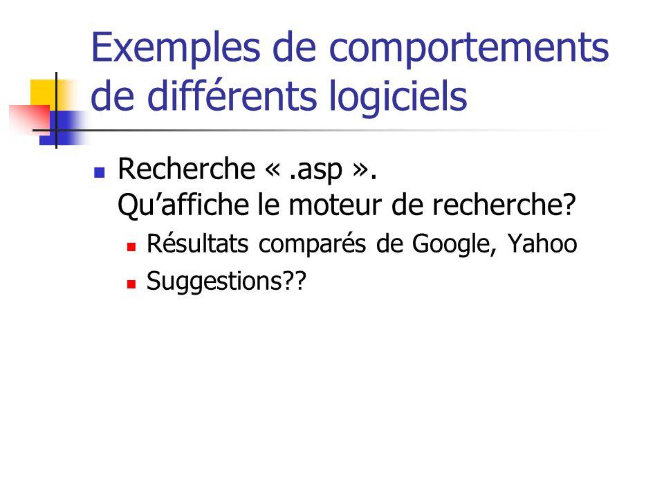 Exemples de comportements de différents logiciels