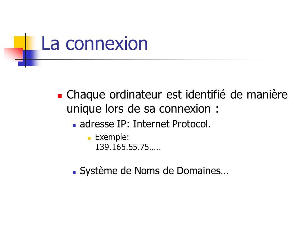 La connexion Chaque ordinateur est identifié de manière unique lors de sa connexion : adresse IP: Internet Protocol.