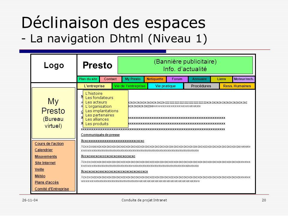 Déclinaison des espaces - La navigation Dhtml (Niveau 1)