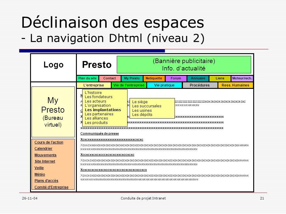 Déclinaison des espaces - La navigation Dhtml (niveau 2)
