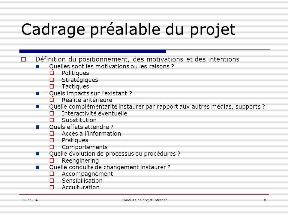 Cadrage préalable du projet
