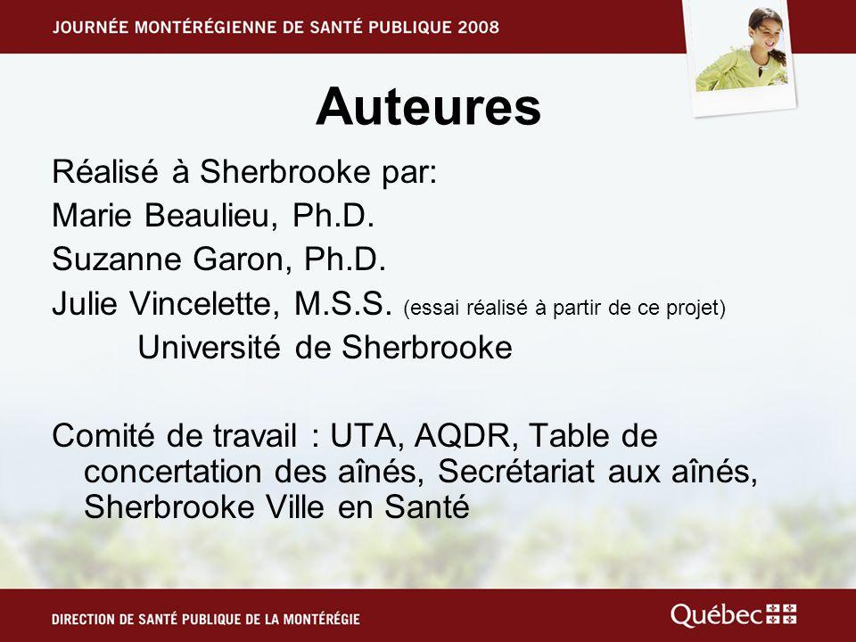 Auteures Réalisé à Sherbrooke par: Marie Beaulieu, Ph.D.