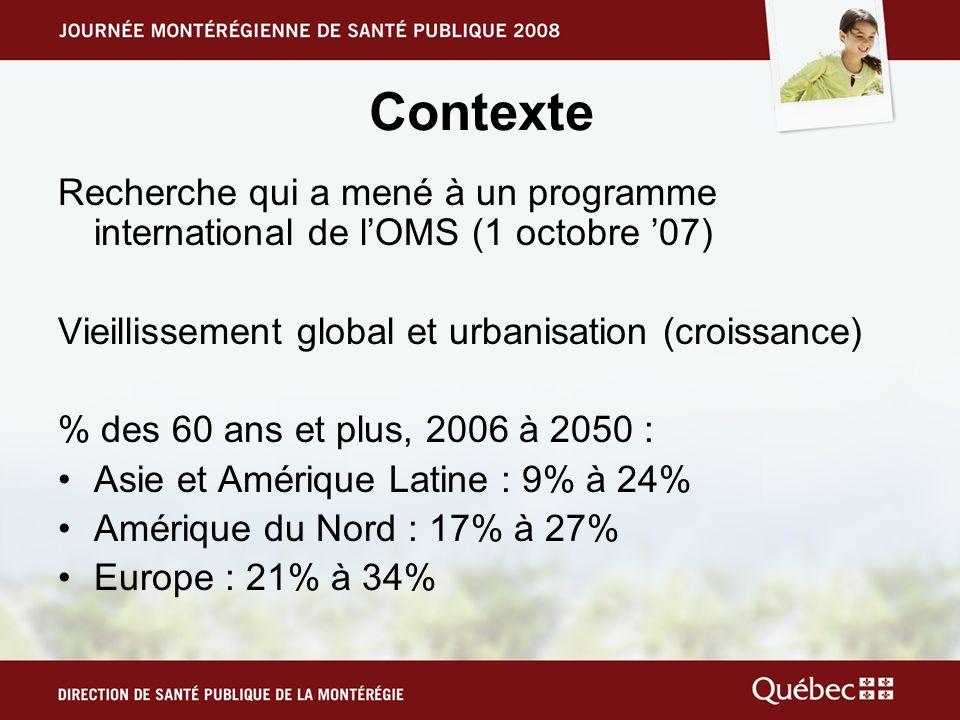 Contexte Recherche qui a mené à un programme international de l'OMS (1 octobre '07) Vieillissement global et urbanisation (croissance)