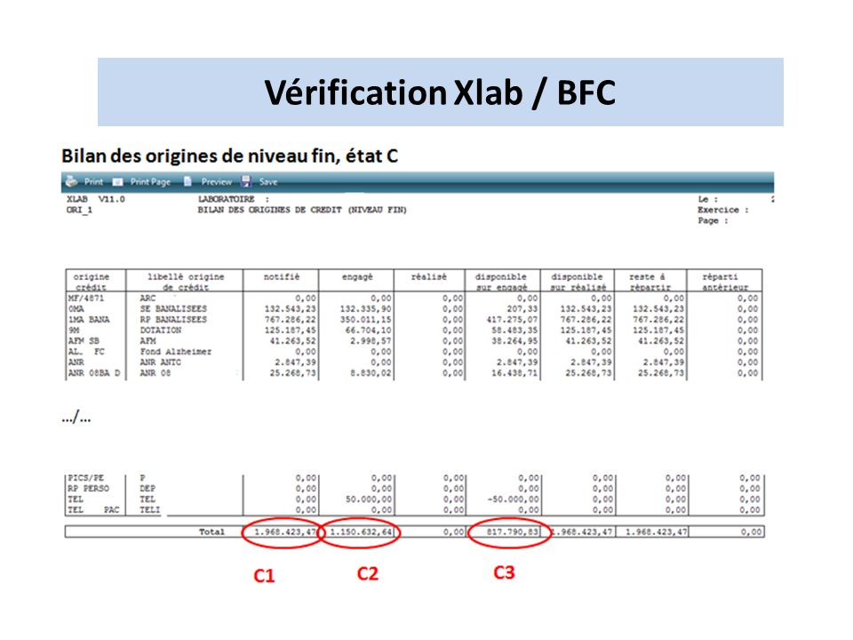 Vérification Xlab / BFC