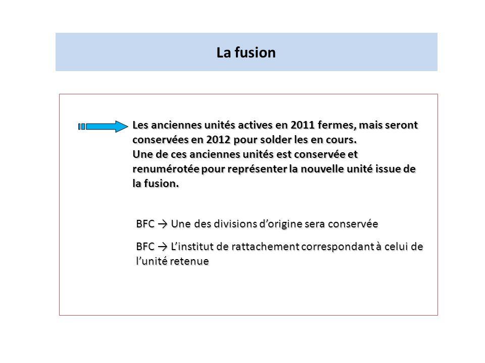 La fusionLes anciennes unités actives en 2011 fermes, mais seront conservées en 2012 pour solder les en cours.
