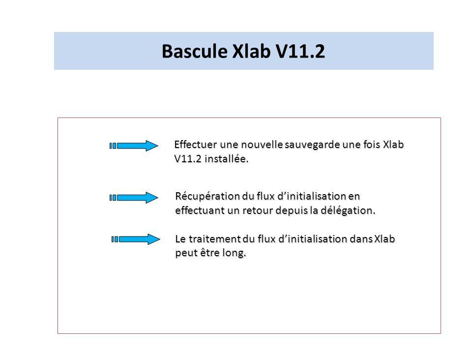 Bascule Xlab V11.2Effectuer une nouvelle sauvegarde une fois Xlab V11.2 installée.
