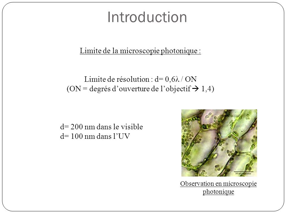 Introduction Limite de la microscopie photonique :
