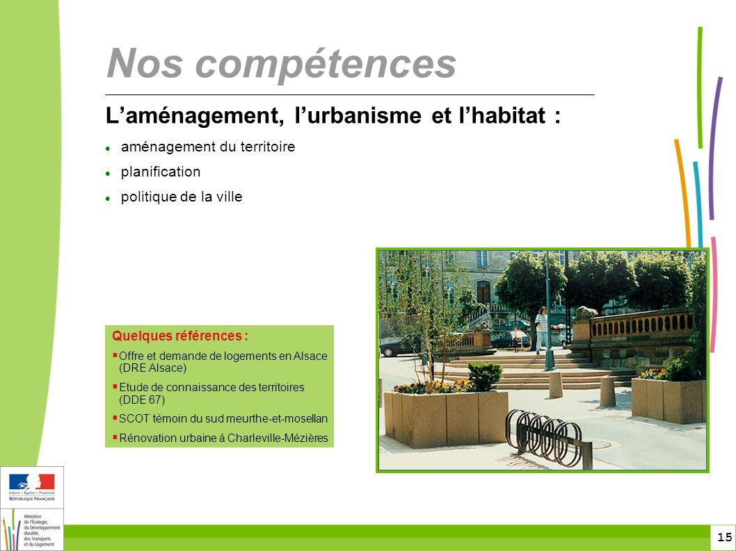 Nos compétences L'aménagement, l'urbanisme et l'habitat :