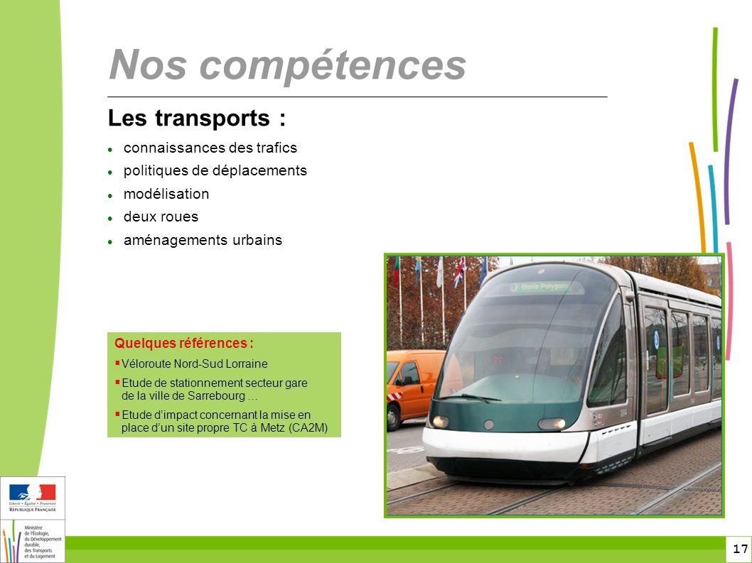 Nos compétences Les transports : connaissances des trafics