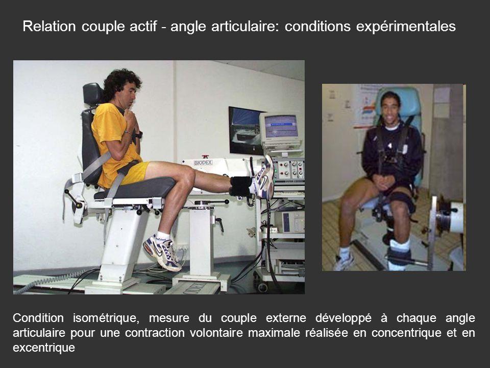 Relation couple actif - angle articulaire: conditions expérimentales