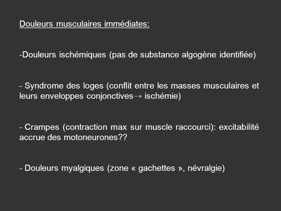 Douleurs musculaires immédiates: