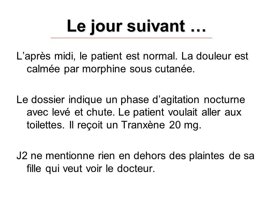 Le jour suivant … L'après midi, le patient est normal. La douleur est calmée par morphine sous cutanée.