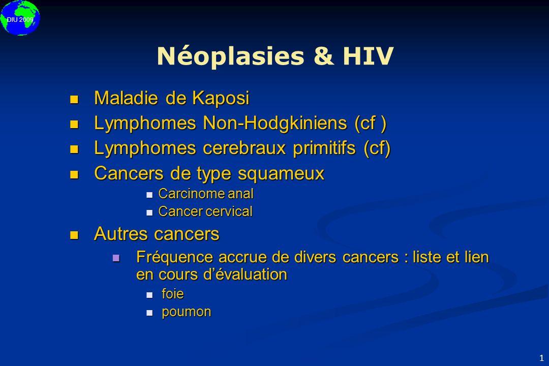 Néoplasies & HIV Maladie de Kaposi Lymphomes Non-Hodgkiniens (cf )