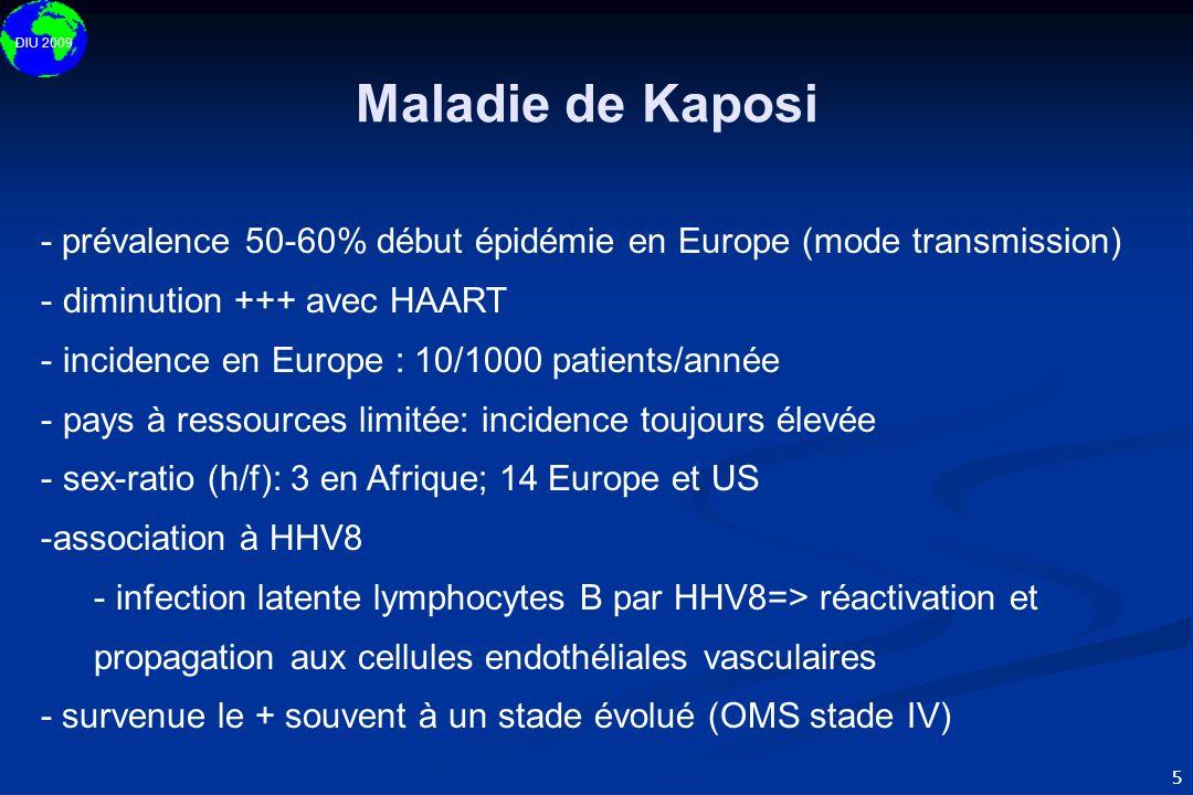 Maladie de Kaposi- prévalence 50-60% début épidémie en Europe (mode transmission) diminution +++ avec HAART.