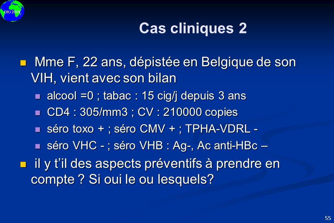 Cas cliniques 2Mme F, 22 ans, dépistée en Belgique de son VIH, vient avec son bilan. alcool =0 ; tabac : 15 cig/j depuis 3 ans.