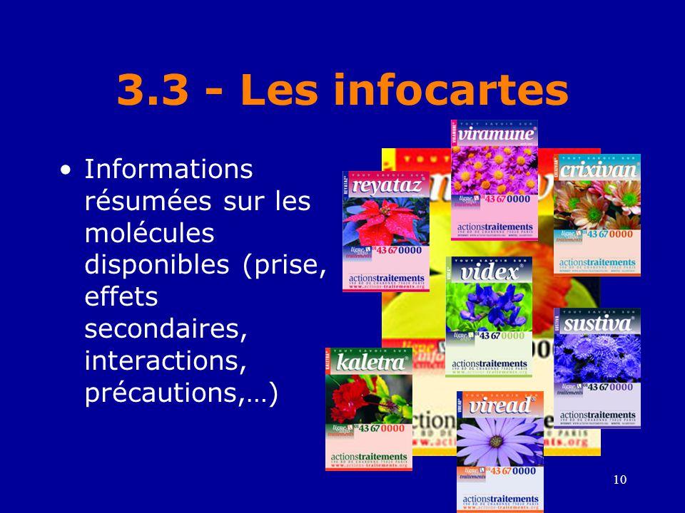 3.3 - Les infocartes Informations résumées sur les molécules disponibles (prise, effets secondaires, interactions, précautions,…)