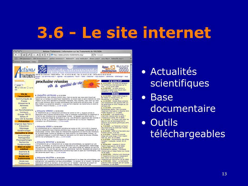 3.6 - Le site internet Actualités scientifiques Base documentaire