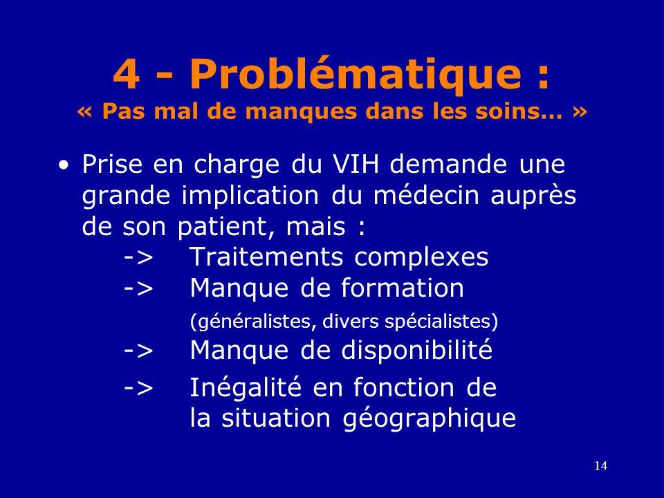 4 - Problématique : « Pas mal de manques dans les soins… »