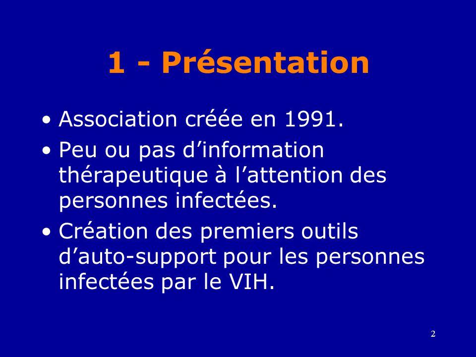 1 - Présentation Association créée en 1991.