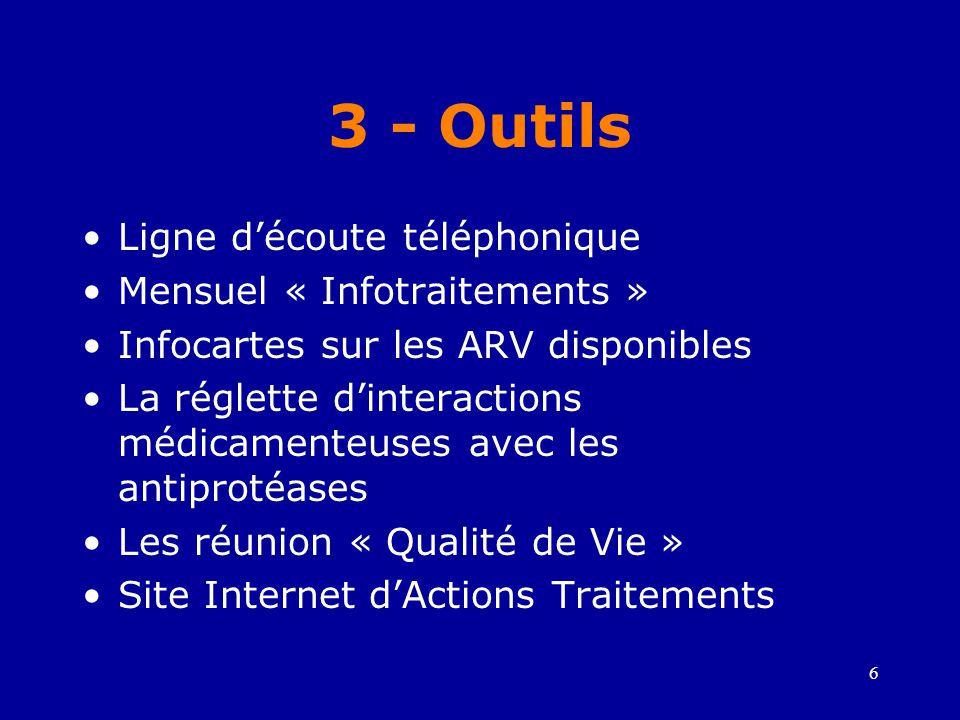 3 - Outils Ligne d'écoute téléphonique Mensuel « Infotraitements »