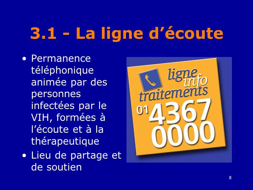 3.1 - La ligne d'écoute Permanence téléphonique animée par des personnes infectées par le VIH, formées à l'écoute et à la thérapeutique.