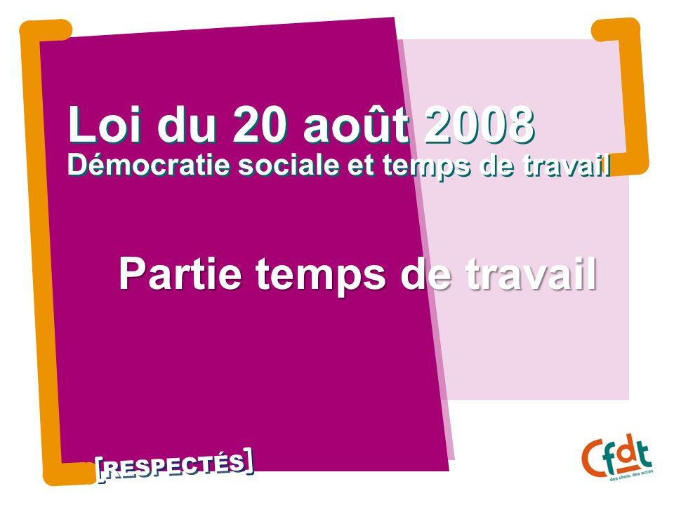 Loi du 20 août 2008 Démocratie sociale et temps de travail