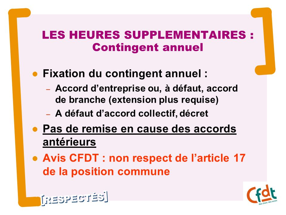 LES HEURES SUPPLEMENTAIRES : Contingent annuel