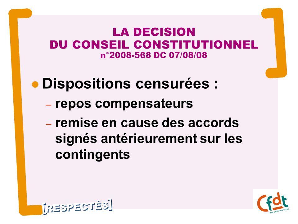 LA DECISION DU CONSEIL CONSTITUTIONNEL n°2008-568 DC 07/08/08