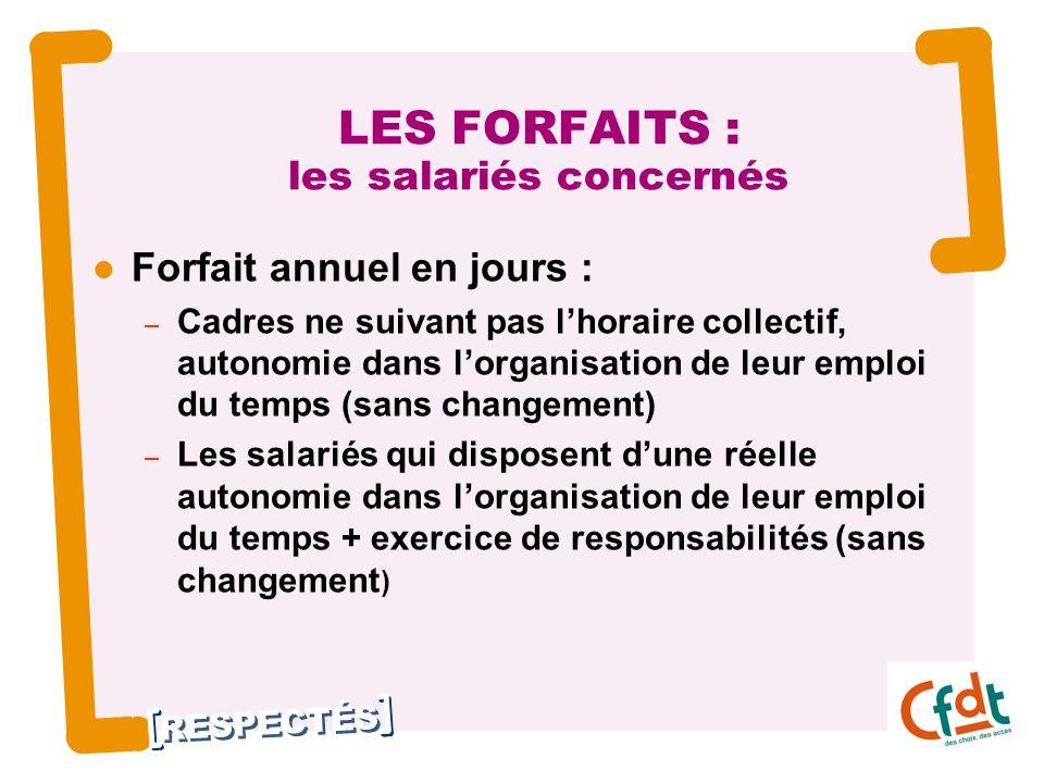 LES FORFAITS : les salariés concernés