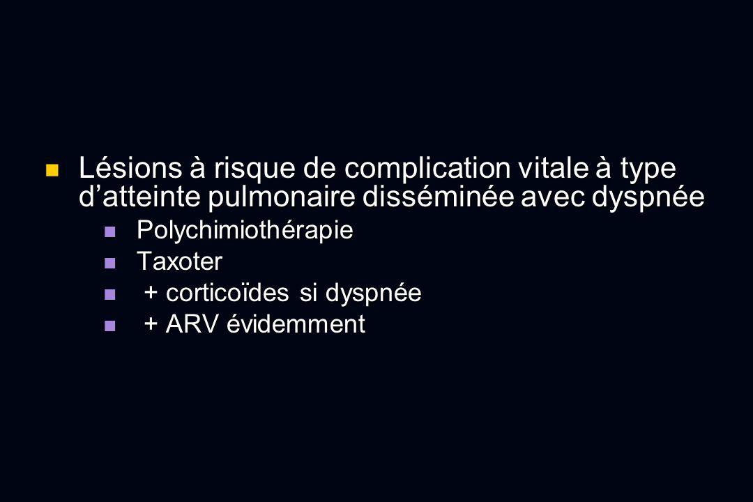 Lésions à risque de complication vitale à type d'atteinte pulmonaire disséminée avec dyspnée
