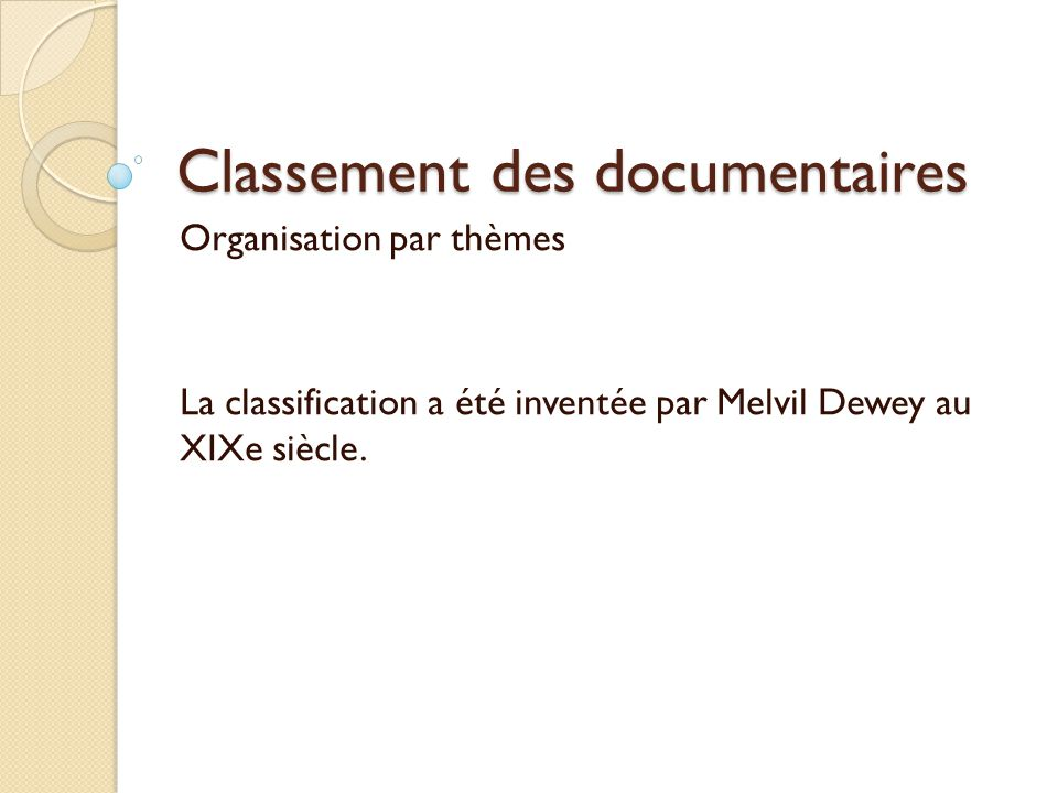 Classement des documentaires