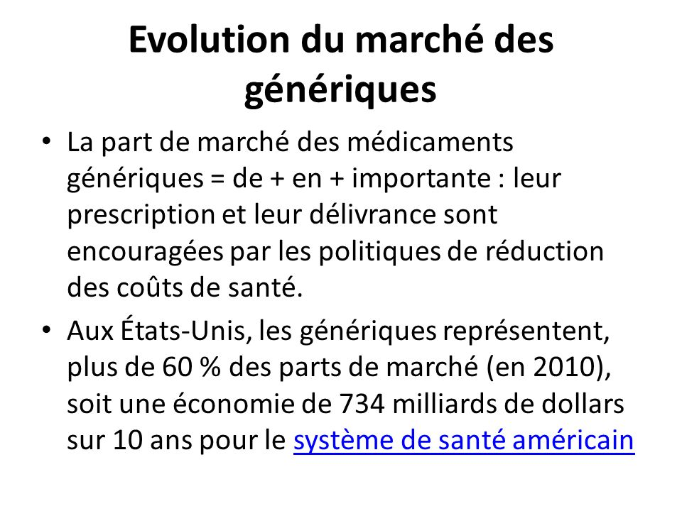 Evolution du marché des génériques
